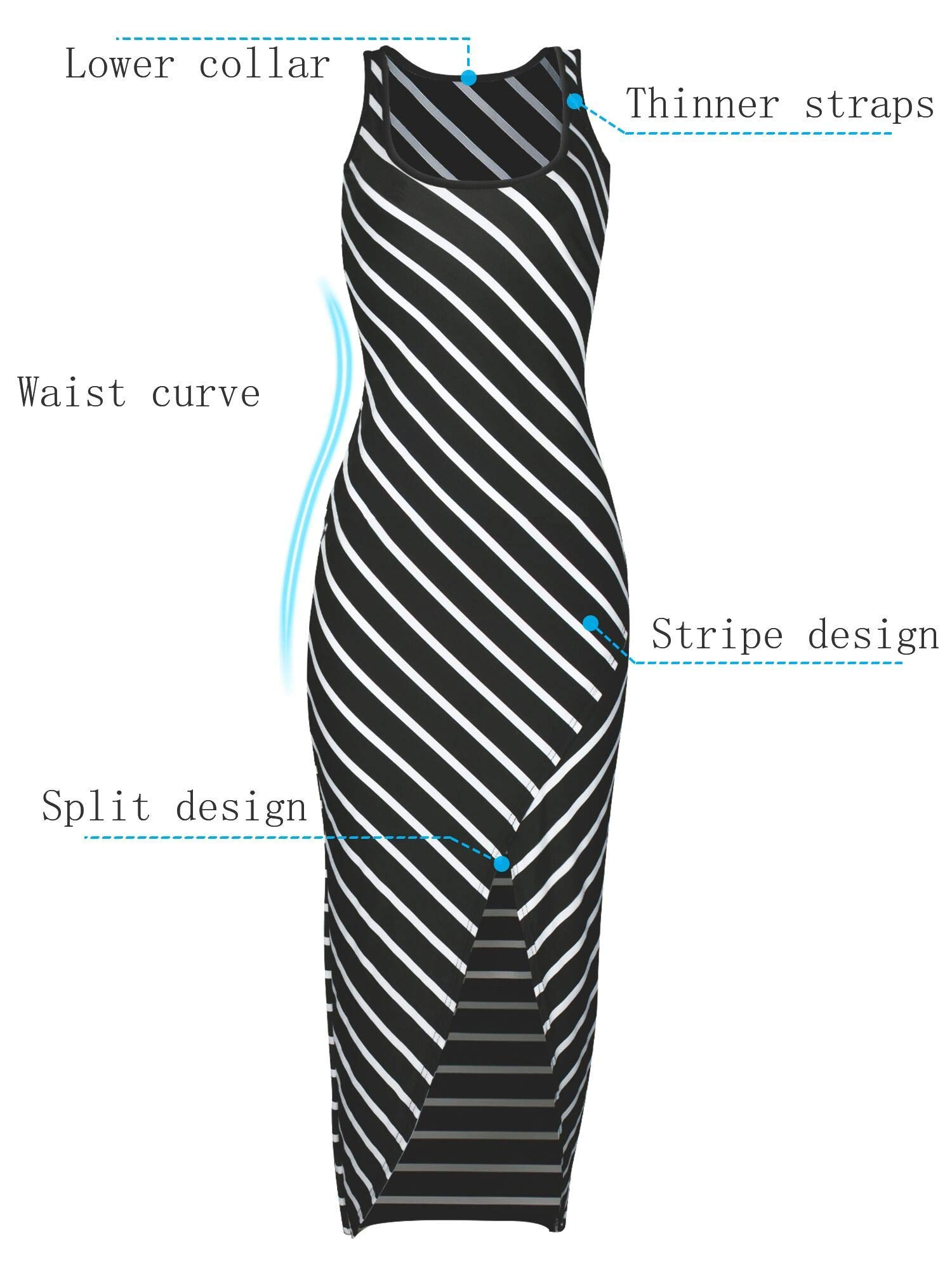 WESIDOM Maxi Dress for Women,Striped Sexy Sleeveless O-Neck Ankle-Length Casual Sundress, Party Long Dresses for Women Black by WESIDOM (Image #4)