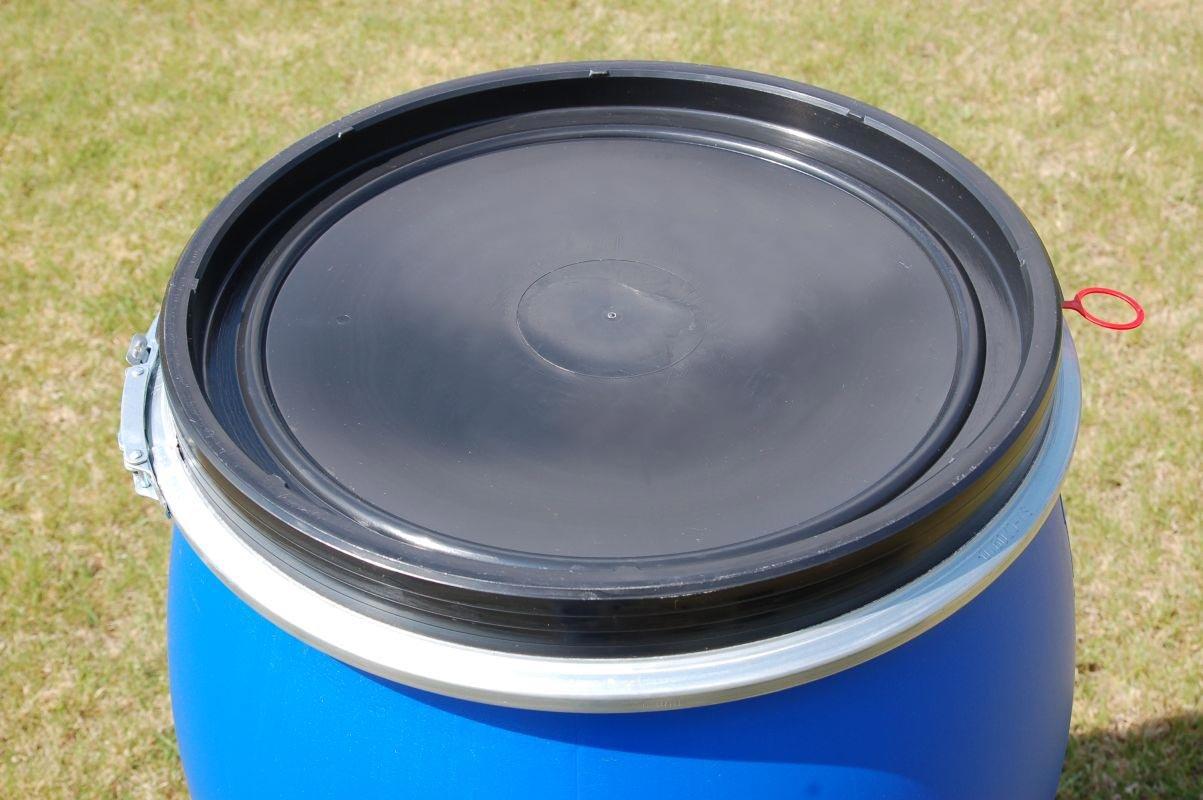Barril polietileno 220 L apertura total con tapa, calidad alimentaria, azules (22119): Amazon.es: Hogar