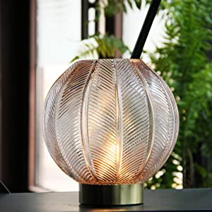 Battery Operated Lamp, Table Lamp LED with Timer for Bedrooms, Glass Night Light for Home Cordless, Beside Desk LED Night Lamps Indoor Decorative lamp for Centerpiece/Gift/Wedding(Beige)