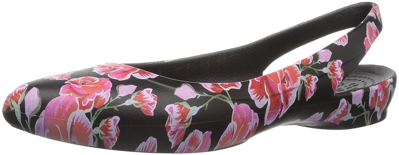 Crocs Women's Eve Floral Graphic Slingback Ballet Flat B0787PGGLK 8 M US|Multi Rose/Black