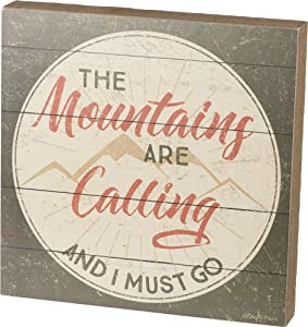 Primitives by Kathy Distressed Slat Box Sign, The Mountains are Calling