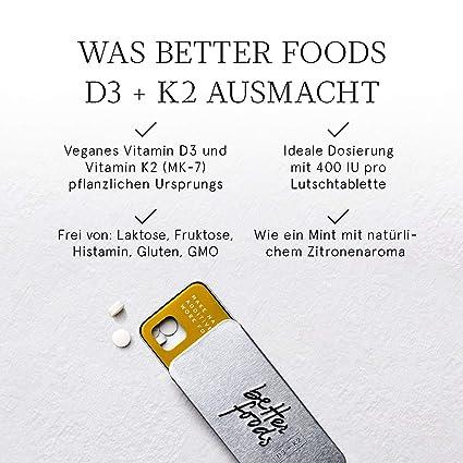 Better Foods Comprimidos de Vitamina D3 + K2 | Pastillas ...