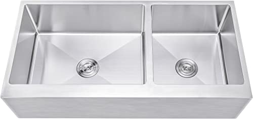 42 Inch 60 40 Offset Double Bowl Stainless Steel Farmhouse Sink – Flat Apron Front 15mm Radius Coved Corners
