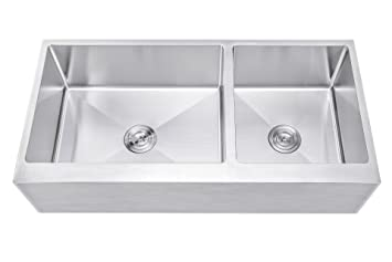 42 Inch 6040 Offset Double Bowl Stainless Steel Farmhouse Sink