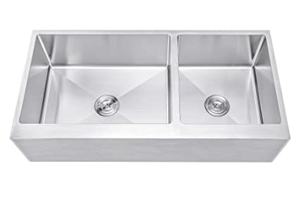 751b8199a0 42 Inch 60/40 Offset Double Bowl Stainless Steel Farmhouse Sink - Flat  Apron Front