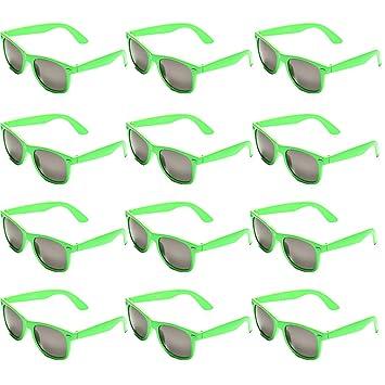 OAONNEA 12 Pares Años 80 Neon Gafas de Sol de Colores Fiesta Adulto (12verde)