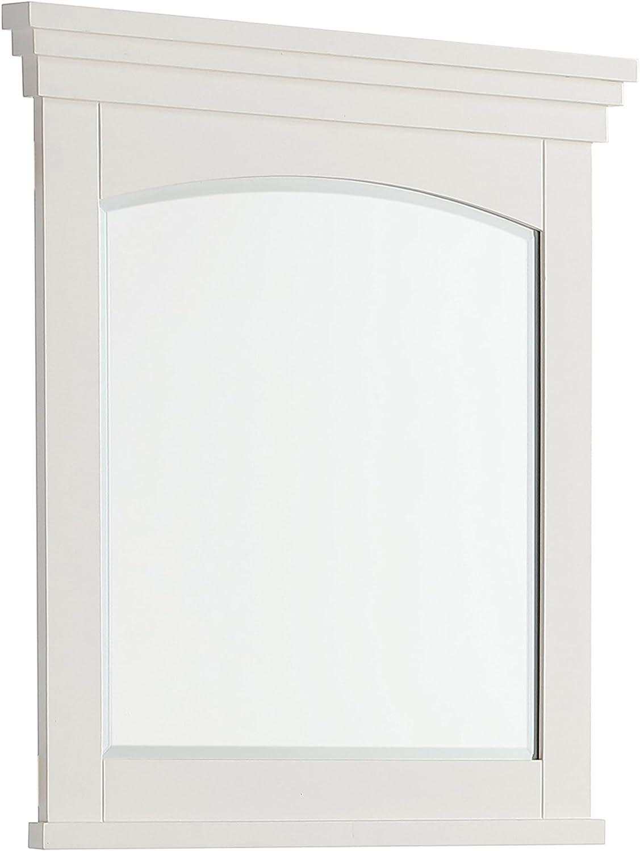 SIMPLIHOME Elise 30 inch x 34 inch Bath Vanity Décor Mirror in Off White