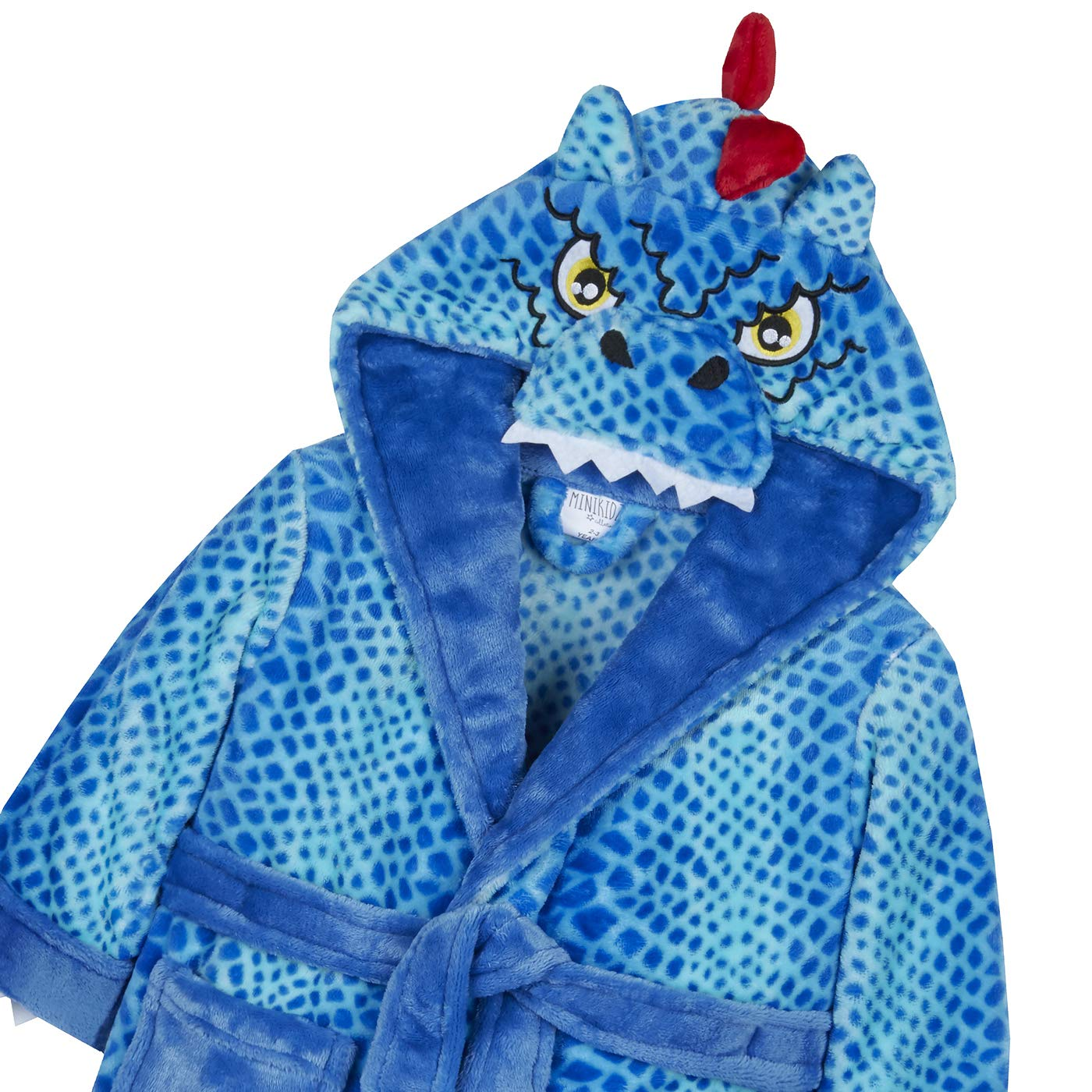 Dinosaur Unicorn Tiger Kids Animal Hooded Bath Robe Crocodile Giraffe Gorilla Full Sleeve Design with Tail Fleece Novelty Dressing Night Gown with Animal Character Hooded All Over with Ears