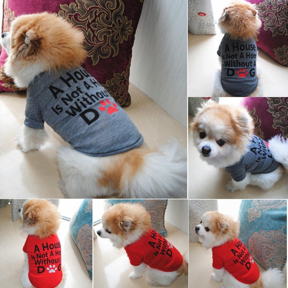 Hot Sale!!Small Dog Cat Pet Puppy Summer Shirt Clothes Vest T-Shirt (XS, Gray B) by Woaills (Image #7)