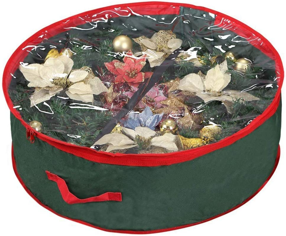 Primode Wreath Storage Bag with Clear Window | Garland or Xmas Wreath Container for Easy Storage (30î Holiday Wreath Bags) (Green)