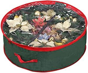 """Primode Wreath Storage Bag 30""""   Garland Wreaths Container with Clear Window for Easy Holiday Storage   Durable 600D Oxford Material (Green)"""