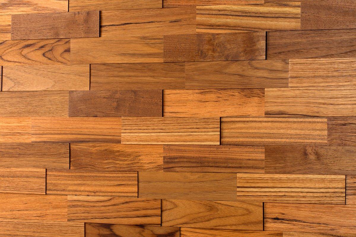 Wodewa Wandverkleidung Holz 3D Optik I Teak I 1m² Wandpaneele Moderne Wanddekoration Holzverkleidung Holzwand Wohnzimmer Küche Schlafzimmer I Geölt