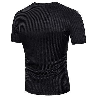 05d99d9d0bd9 JACKY-Store Men s Casual Patchwork T-Shirt Solid Slim Short Sleeve Blouse V  Neck Fit Pullover Tees Shirt Short Sleeve T-Shirt Blouse Polo Shirt Top Vest  ...