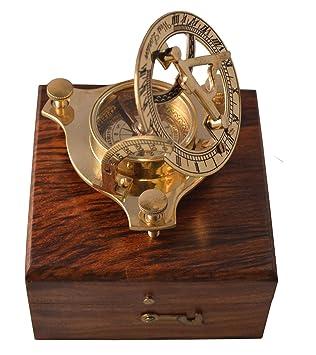 Tempelwelt Reloj Solar Antiguo con Brújula, Cronómetro de Latón, en Caja de Madera,