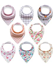 ALVABABY Bandana Drool Bibs Feeding Resuable for Boys& Girls Floral 8 Pack of Super Absorbent Baby Gift Sets 8SD24