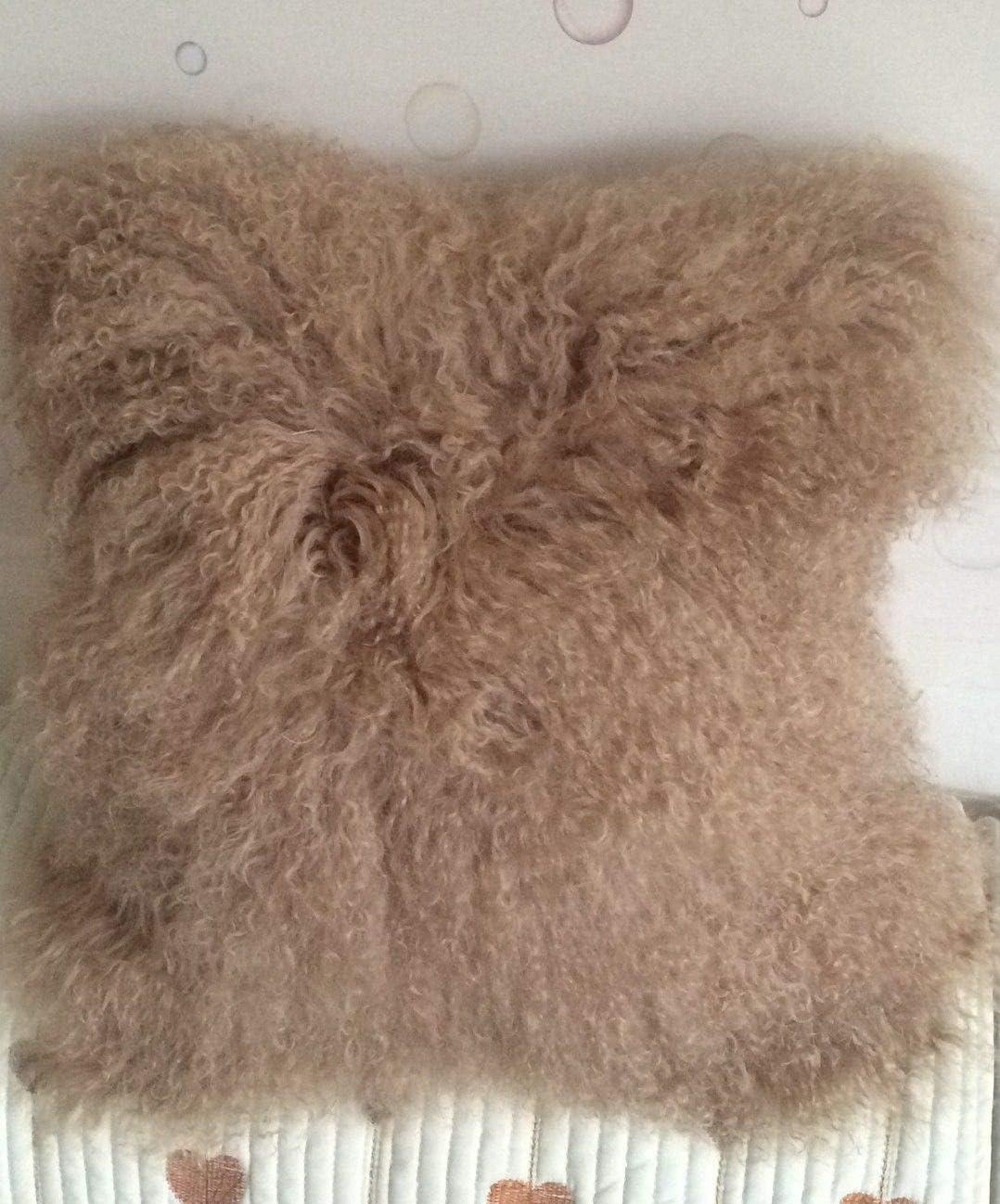Seek4comfortable 100% Real Mongolian Lamb Sheepskin Wool Fur Throw Pillow Cover |Fur Decorative Cushion Cover Pillow Case for Living Room Bedroom, Khaki,16 x 16 in