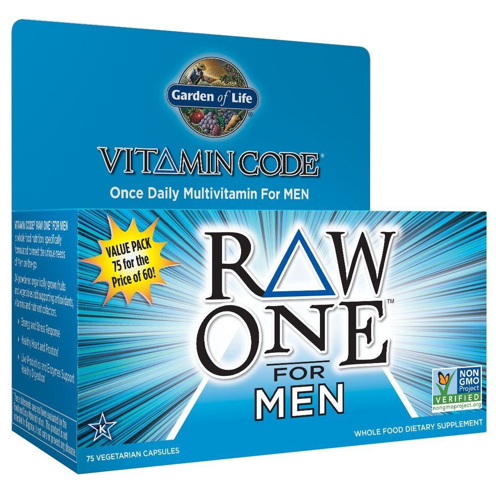 Garden of Life Multivitamin for Men – Vitamin Code Raw One Whole Food Vitamin Supplement with Probiotics, Vegetarian, 75 Capsules