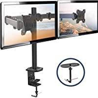 Dual Monitor Stand - Double Monitor Desk Stand Arm with C Clamp, Grommet Mounting Base for Two 13-27 Inch LCD Computer Screens - Holds up to 17.6lbs