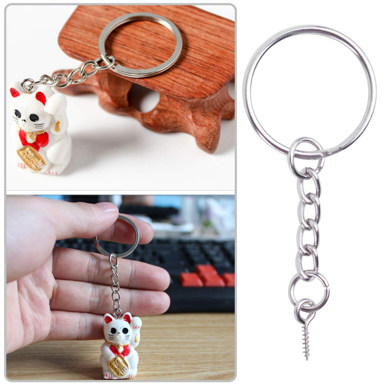 BronaGrand 25mm Split Key Ring with Extend Chain and 12mm Screw Eye Pin for Craft Charm Making 50 Pack