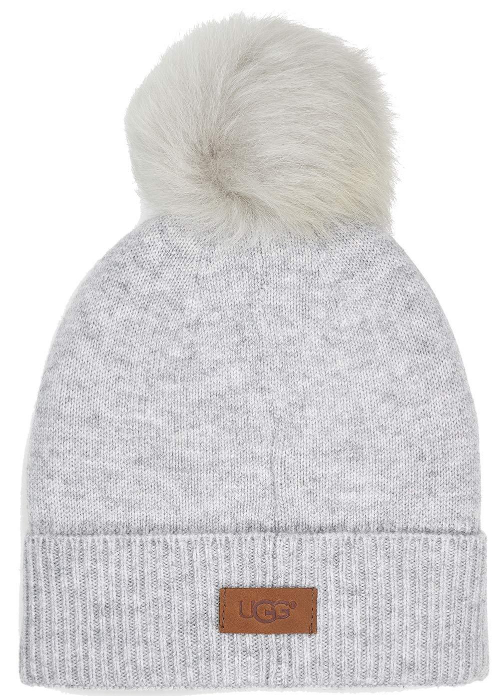 UGG Women's Luxe Knit with Sheepskin Pom Hat Light Grey One Size