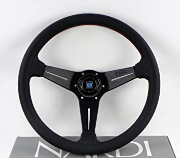 Type A Horn Button NARDI Deep Corn Steering Wheel 350mm - Black Perforated Leather with Red Stitching Black Spokes Part # 6069.35.2093A 13.78 inches
