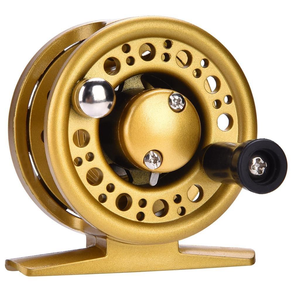 フライフィッシングリール 防水 2+1BB エンジニアリング プラスチック フィッシングリール 左 右手 交換可能 釣りアクセサリー 1個 60型号 ゴールド B07GCKDZZ2