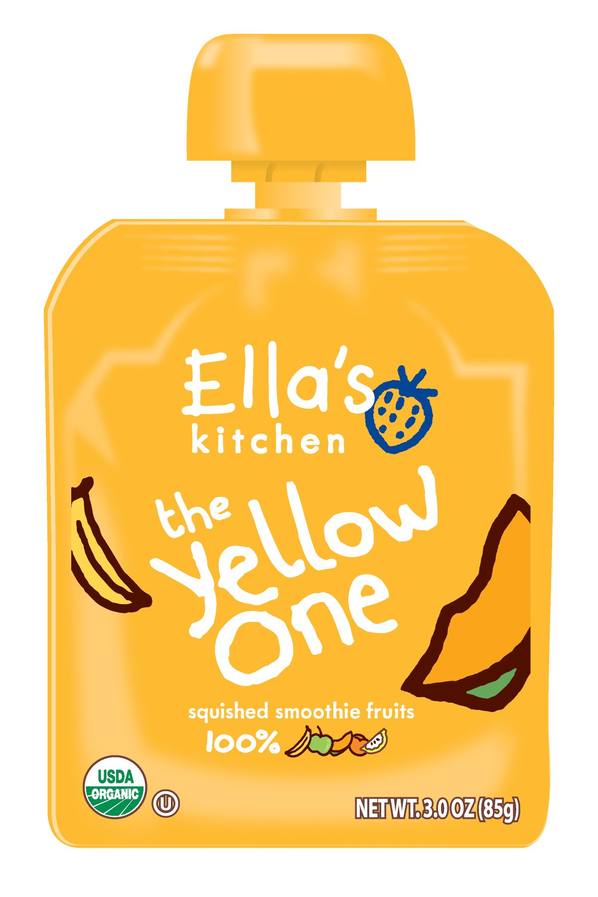 Ella's Kitchen Organic Smoothie Fruits, The Yellow One, 3 Ounce (Pack of 12)