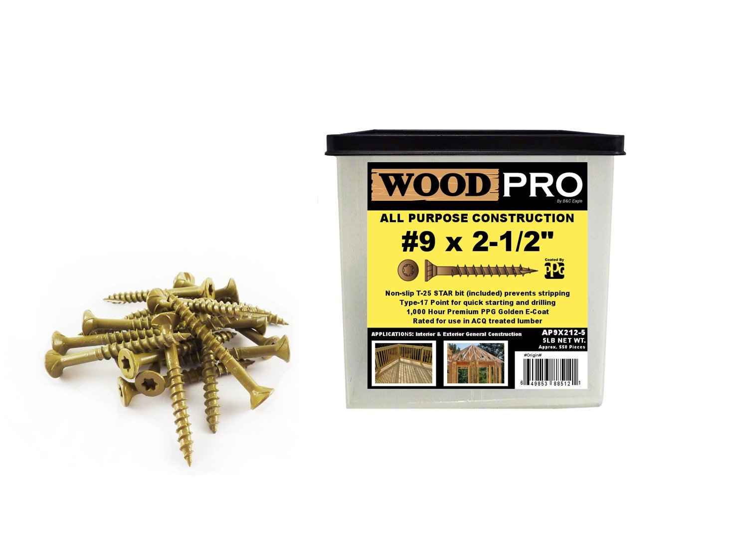 WoodPro Fasteners AP9X212-5 T25 5-Pound Net Weight 9 by 2-1/2-Inch All Purpose Wood Construction Screws, 500-Piece by WoodPro Fasteners