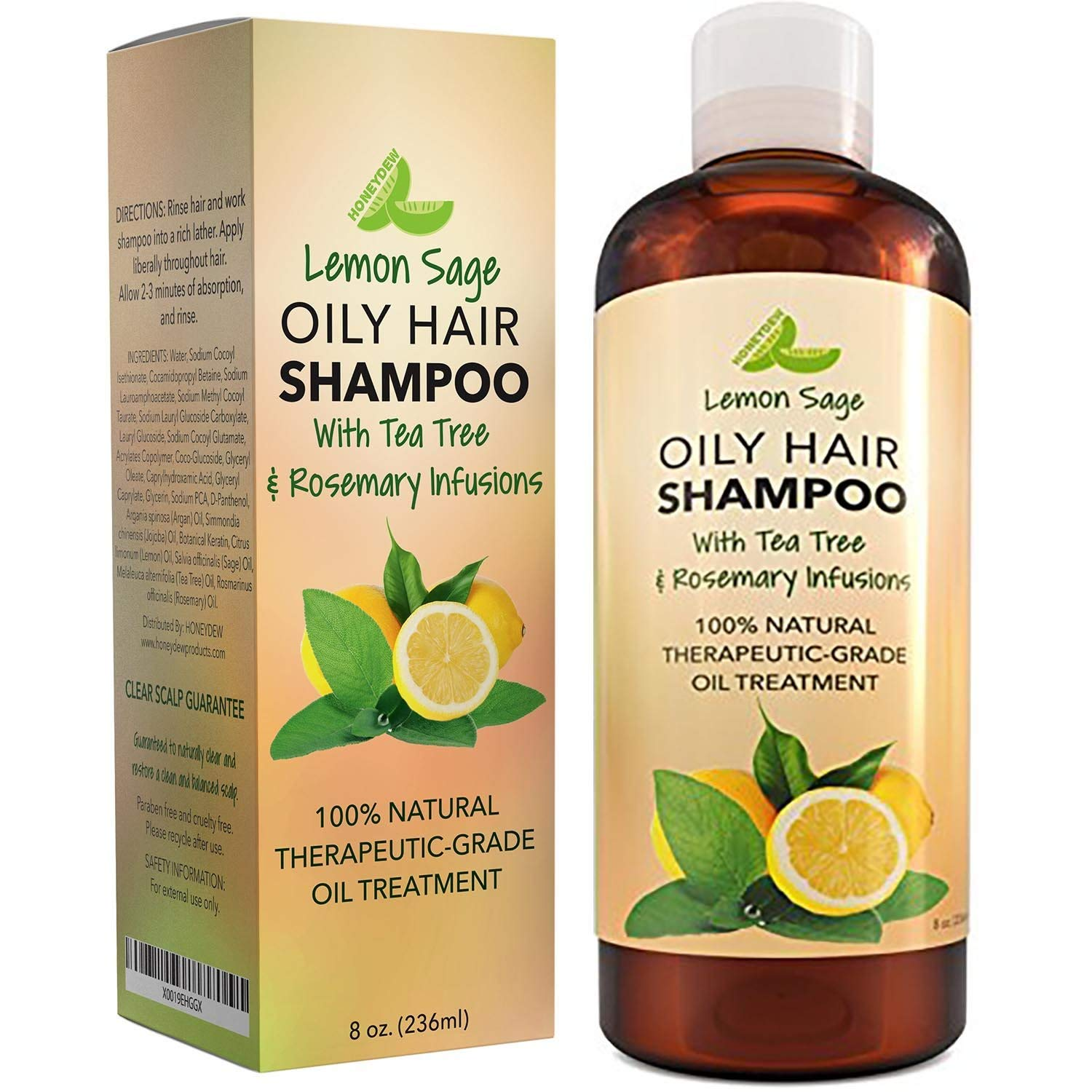 Lemon Sage Shampoo for Oily Hair - Natural Oily Hair Shampoo for Greasy Hair with Lemon and Tea Tree Oil for Hair and Scalp Care - Deep Cleansing Natural Clarifying Shampoo Sulfate Free Formula