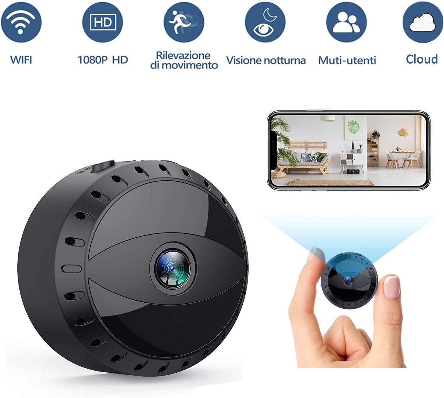 Tesecu - Mini microcámaras espía 1080P HD botón Oculto cámara WiFi IP inalámbrica detección de Movimiento portátil videocámara con visión Nocturna vídeo Grabador