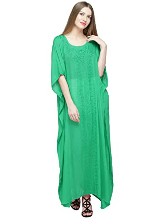 99baa35aee Kaftan Dress Robe Rayon Caftan Nightgown Beach Dress Cover Up Plus Size  Green