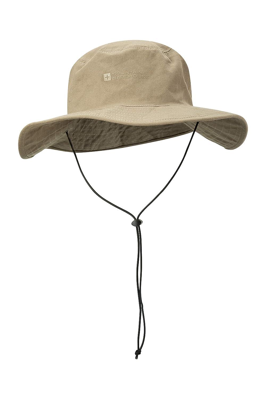 Mountain Warehouse Australian Brim Sombrero australiano del borde - 100% casquillo del vaquero del algodón, sombrero del verano de UPF30+, casquillo ligero ...
