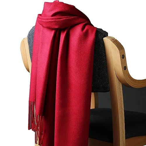 Unisex Colore Solido Cashmere Feel Sciarpe Stole Scialli Con Le Nappe(Borgogna)