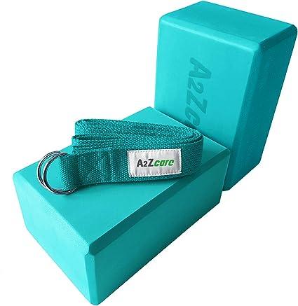 A2ZCARE Yoga Blocks (Set of 2) and Yoga Strap Set