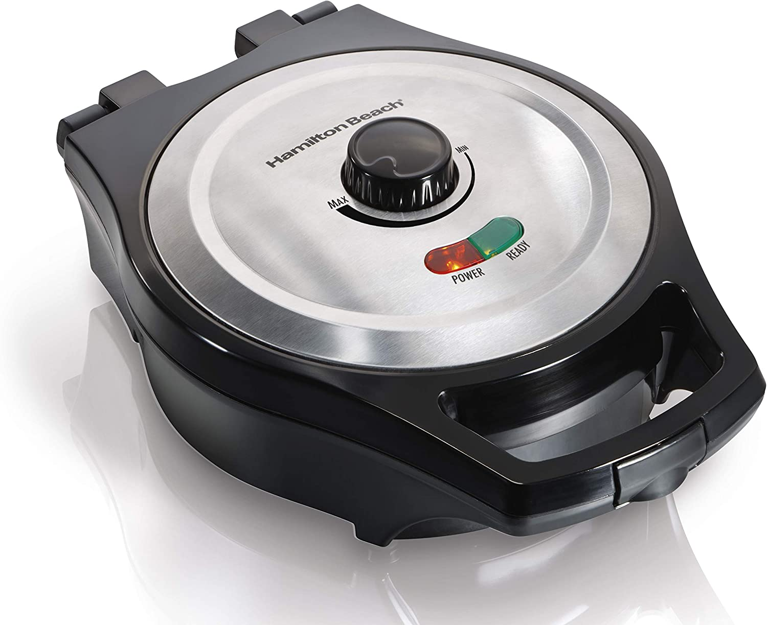 Hamilton Beach Belgian Waffle Maker, Mess free with Adjustable Browning, 650 Watts, Black (26091)