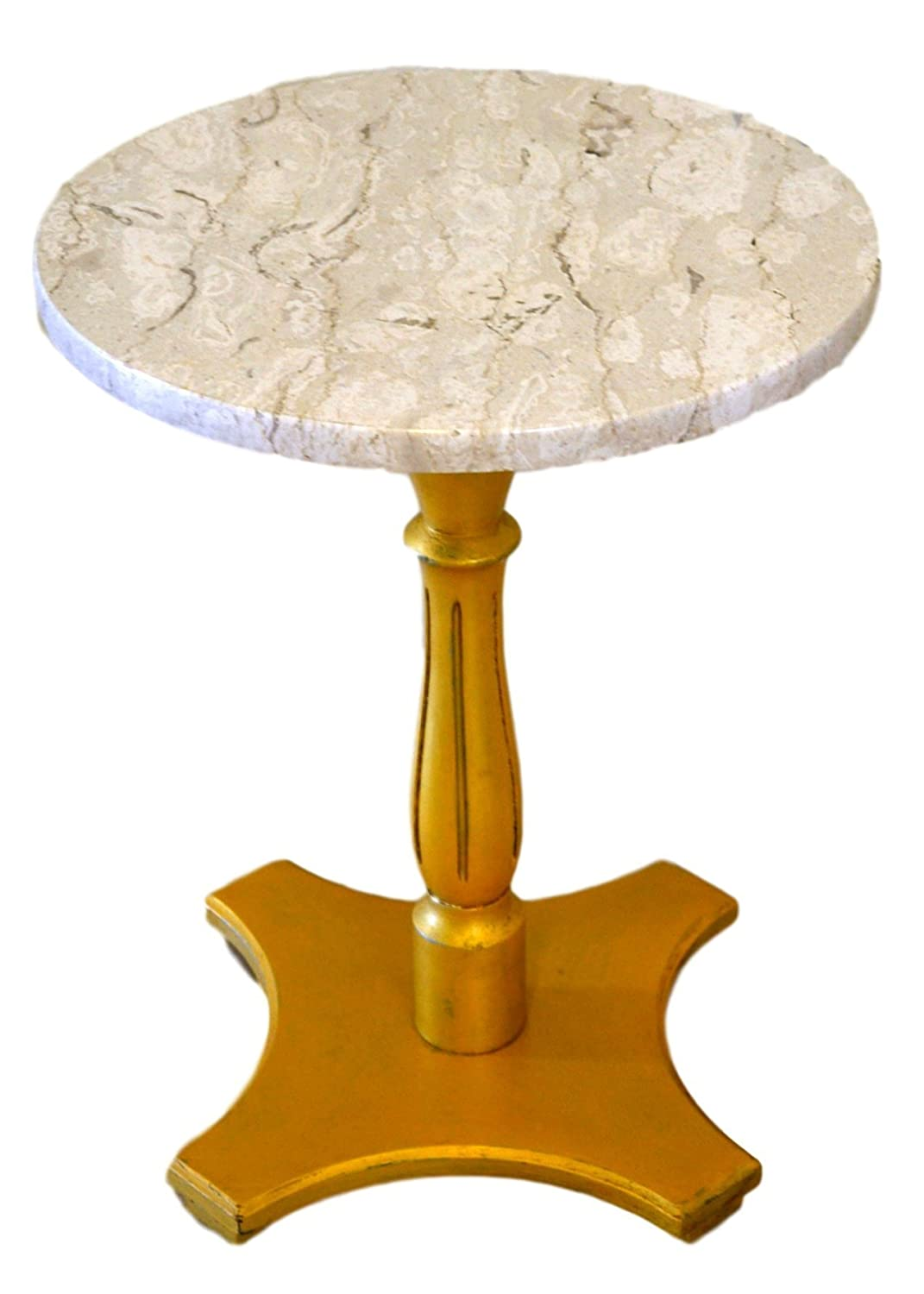 - Amazon.com: Round Marble Top Accent Table Gold Pedestal Base: Handmade
