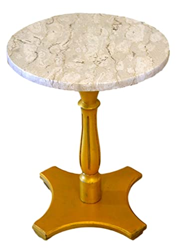Round Marble Top Accent Table Gold Pedestal Base
