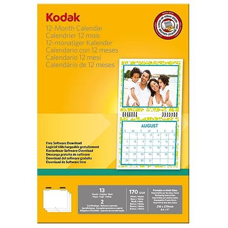 Calendario 12 Mesi.Kodak 5740 016 Carta Fotografica Per Stampa Calendario 12 Mesi Superficie Opaca Stampabile Fronte Retro 170 G Mq Formato 216x279 Mm Bianco