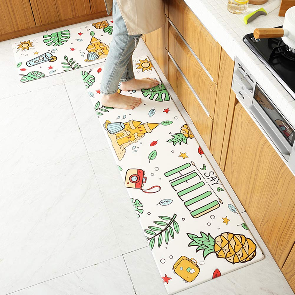 GoDeal Kitchen Carpet Long Waterproof Anti-Slip Kitchen Rug PU Leather Wear Resistant Rectangle Floor Mats for Home Kitchen Living Room Dining Room Corridor