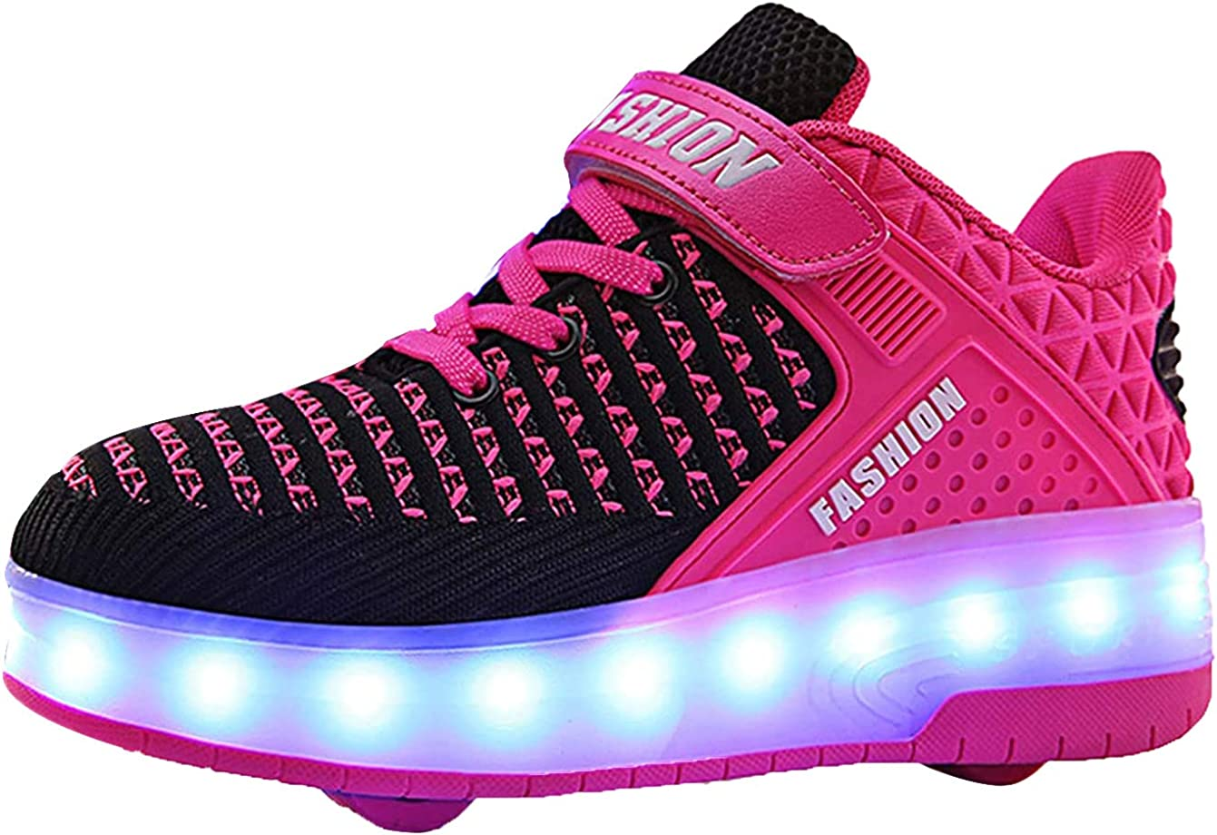 Ali-tone LED Chaussures /à roulettes Fille gar/çon Retractable Basket a Roulette Two Wheel Detachable Creative Gifts