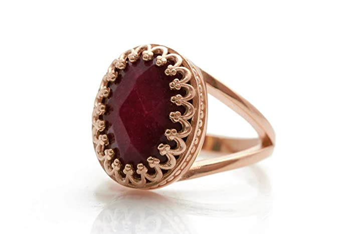14K Rose Gold Ring by Anemone Jewelry - Unique AA 6CT Ruby Ring to Bring Joy and Happiness - Ruby Birthstone Ring with Gift Box - Handmade