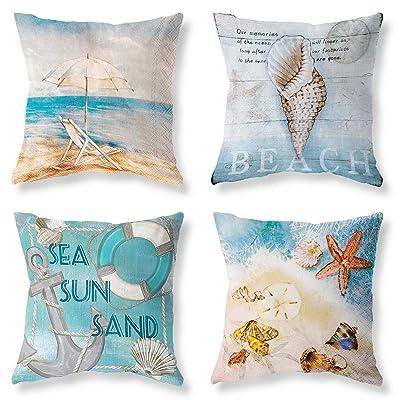 "4Pcs 18x18/"" Ocean Coastal Throw PILLOW COVER Teal Linen Decorative Cushion Case"