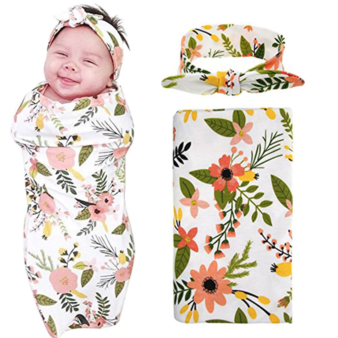 1 Pack Receiving Blanket with Headbands BQUBO Newborn Baby Floral PrintedBaby Shower Swaddle Gift