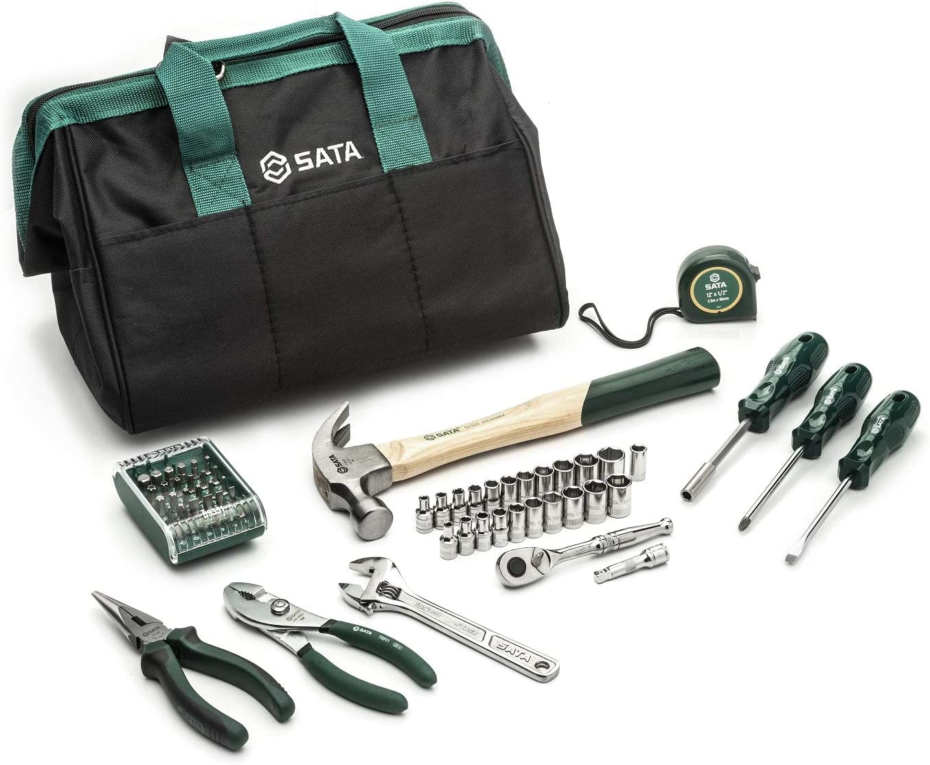 SATA 62-Piece General Purpose SAE and Metric Mechanic's Tool Set for Repair and DIY Projects with Durable Green Carrying and Storage Bag - ST09513U
