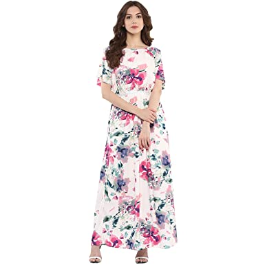 49883d4bda4 Harpa Large Florals Maxi Dress (GR3765-OFF White)  Amazon.in ...