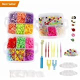 NEFUTRY Colroful Loom Kit-4500 Rubber Loom Bands, 15 Colors, 2 Monster Tailloom Board, 2 Y Shape loom, 1 Big Hook, 6 Small Hook, 4 Packs S-Clips, 50 colorful beads, 6 Silicon Charms