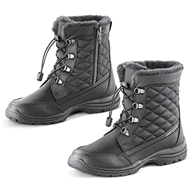 aa52d3e817f5f Amazon.com | Totes Quilted and Faux Fur Lined Waterproof Winter Boot with  Thermal Insulated Footbed - Snow Gear Essentials, Black, 11 | Snow Boots