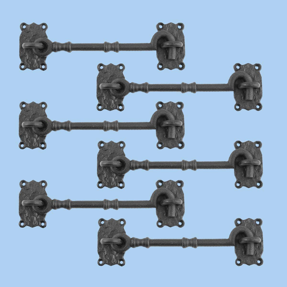 Renovators Supply Cabin Privacy Hook Eye Latch Black Iron 7.25 Inch Set of 3