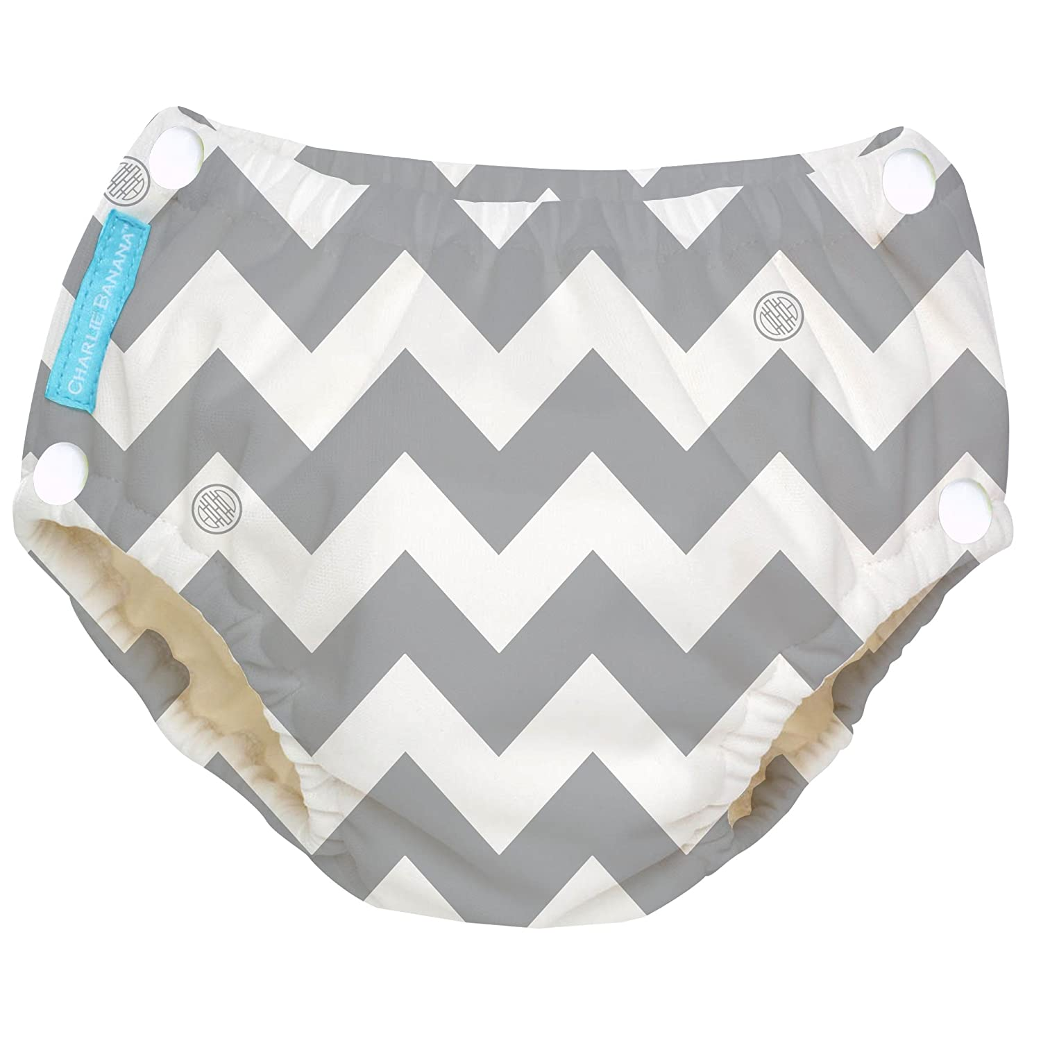 Charlie Banana Reusable Easy Snaps Swim Diaper, Grey Chevron, Large 8870199