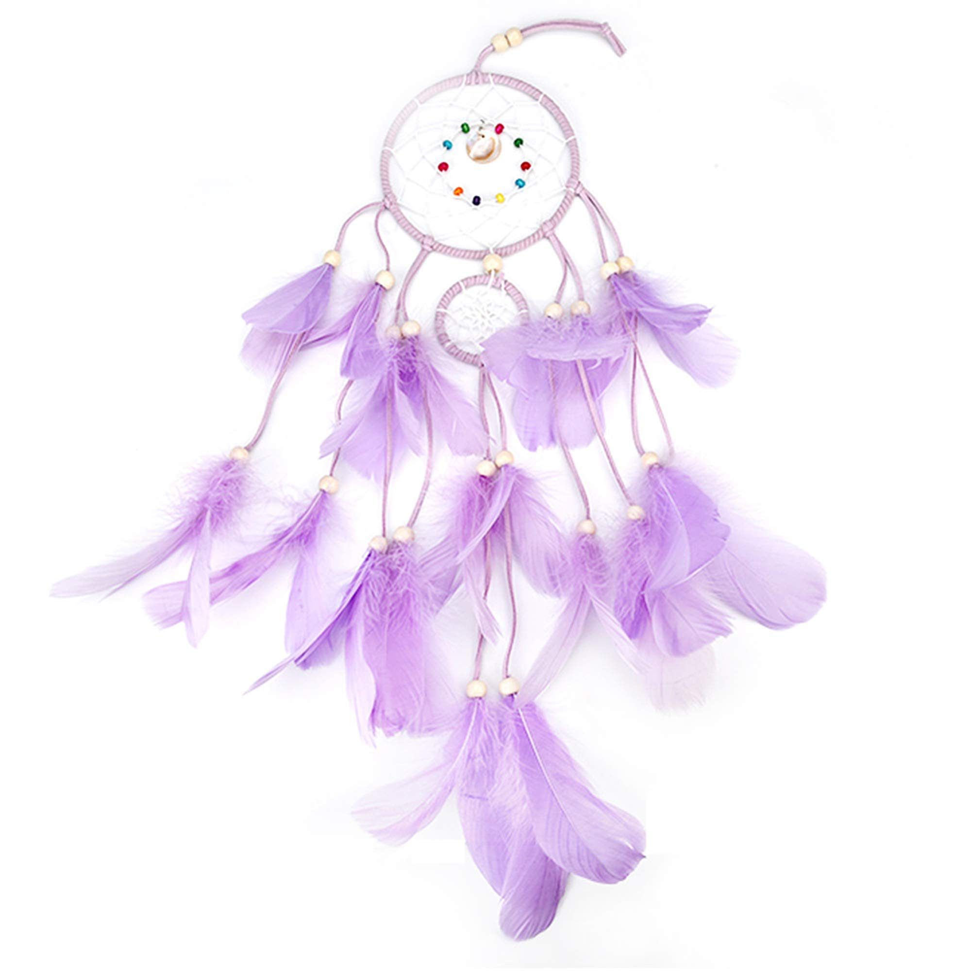 GELIS Led Dream Catcher Lights up,Native Lndian Dreamcatchers Wall Hanging Ornaments for Bedroom,with Feathers and 20Led Lighting,Caught Your Dream  (Purple)